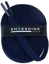 SHOESHINE® navy sport shoe lace flat shoelace (Set of 2 Pairs) Size S-150cm & 7mm W