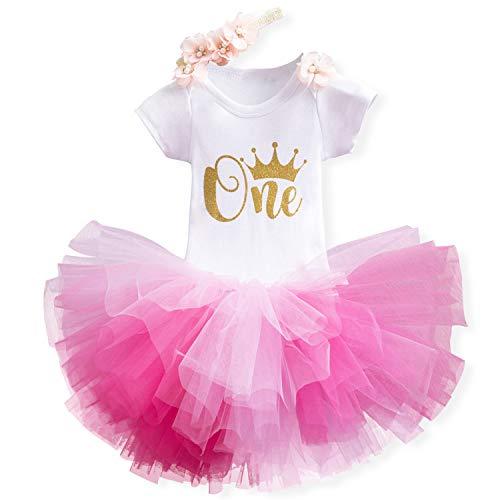 NNJXD Mädchen Newborn 1. Geburtstag 3 Stück Outfits Strampler + Tutu Kleid + Stirnband (1 Jahre, C-Pink)
