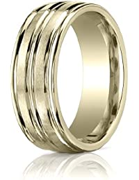 9ct Yellow Gold, 8mm Comfort Satin Polished Center Round Edge Band (sz H to Z5)