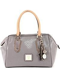 Bolso de mano polochon gris Guess para mujer, colección Blossom