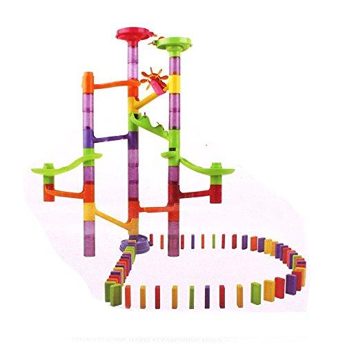 Beby Kugelbahn mit 15 Murmeln und 55 Dominosteine Murmelbahn Spielvergnügen für Kinder
