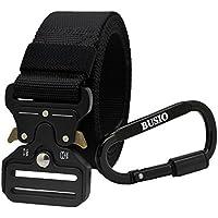 BUSIO Cinturón táctico militar, Cinturón de hombres resistentes para aparejos, Hebilla metálica Cinturón de nailon de liberación rápida con mosquetón de aluminio en forma de D (Negro)