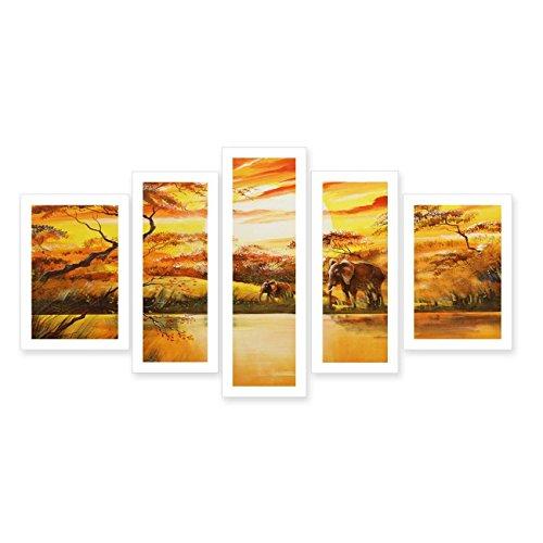JH Lacrocon Pinturas África a Mano 5 Piezas - Total 120X75 cm...