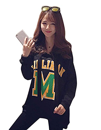 Cravog 2015 Mode Casual Femme Sweat-shirt Pullover Blouse Chemisier Imprimer Manteau Longues Sweats Capuche Manteaux Noir
