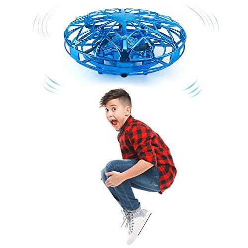 Roebii Mini Drohne UFO für Kinder, Handgesteuerter Flugzeuge Spielzeug Fliegender Ball Hubschrauber Quadrocopter mit 360°Rotierenden und LED-Leuchten, Wiederaufladbar, Geschenke für Jungen Mädchen