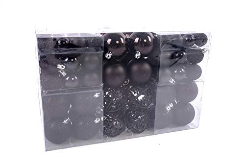 Lifestyle & more 100 pezzi palle di natale nero decorazioni per alberi di natale