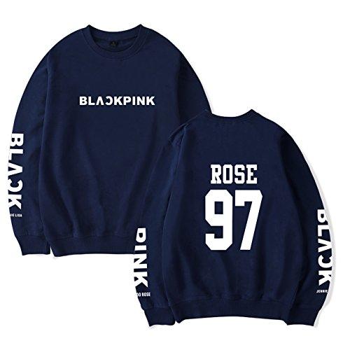 SIMYJOY Amants Blackpink Sweats Pulls KPOP BlackPink Collège Hip Hop Sweat Shirt Pour Hommes Femmes Adolescents bleu Rose 97