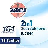 Sagrotan 2in1-Desinfektionstücher, Hände und Oberflächen, 1er Pack (1 x 15 Stück)
