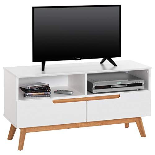 IDIMEX Lowboard Tibor, TV Möbel Fersehschrank Fernsehtisch HiFi Möbel im nordisch skandinavischer Stil, mit 2 Schubladen und 2 offenen Fächer, Kiefer massiv, in weiß