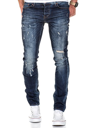 Amaci Sons Herren Strech Destroyed Slim Fit Denim Jeans Hose 7500  Dunkelblau W29 L32 c52e0dcc8a