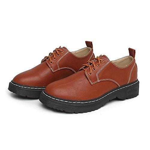 JRenok Mocassins Femme Loisir Chaussures de Ville Cuir Sneakers Lacets Casuel Confort Plates Loafers Résistant à LUsure 34-43 Marron