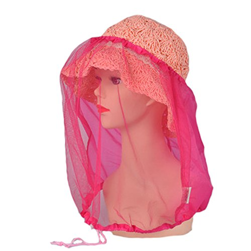 elastic-insectes-head-net-mesh-masque-anti-mosquito-bug-bee-rose-rouge