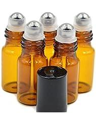 24 5 ml Bernstein Glas Roll-On Flaschen nachfüllbar Roller Flasche Flakon Behälter Halter Topf Topf mit Edelstahl Roller Kugeln