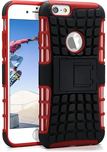 ONEFLOW® Outdoor Back-Cover aus Silikon + Kunststoff [Double-Layer] passend für iPhone 6S / iPhone 6 | Extrem widerstandsfähiger 360° Schutz, Rot (Apple Iphone6 Silikonhülle)
