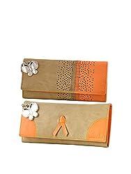 Butterflies Women Wallet Combos (Beige,Orange) (BNS C153) (Pack of 2)