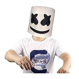 BlackPJenny Halloween Party Night Club Latex Bianco Maschera per Adulti DJ Marshmello Maschera Costume