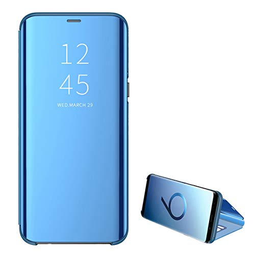 Kompatibel Samsung Galaxy S10 Handyhülle S10 Plus Hülle PU S10 Lite Leder Flip Clear View Schutzhülle Hart Ständer-Funktion Spiegeln Standfunktion Mirror s10 Hülle Case Cover (S10, Blue) - Protector Screen Perfect Fit