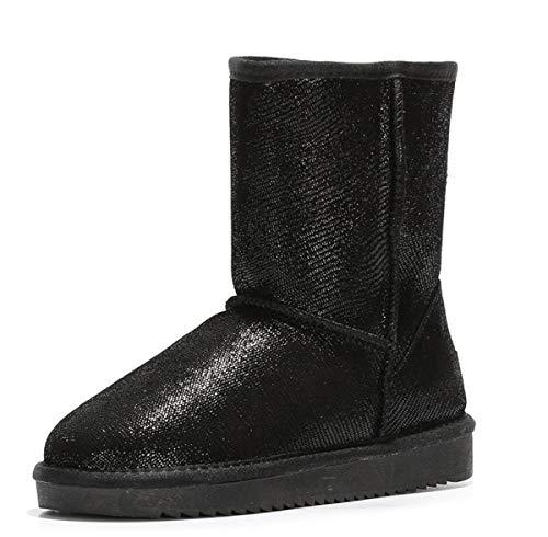 DANDANJIE Women es Snow Boots Winter Warm Classic Mid-Calf Boots Flat Heel Slip-On Ankle Boots (Black Silver),Black,36EU Classic Mid-boot