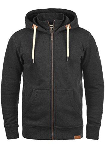 !Solid TripZip Herren Sweatjacke Kapuzenjacke Hoodie mit Kapuze Reißverschluss und Fleece-Innenseite, Größe:XXL, Farbe:Dark Grey Melange (8288)