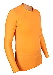 Lycot Polyester Plain Compression Full Sleeve Top, Small (Orange)