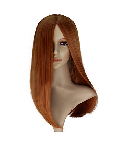 Captain America: The Winter Soldier Black Widow Cosplay Perücke Natasha Romanoff Wig glattes Haar Braun