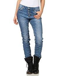 c280ccd037d41b Karostar by Lexxury Damen Jeans Moderne Lange Hose Knöpfe Chino Baggy  Boyfriend Hüfthose Stretch ...