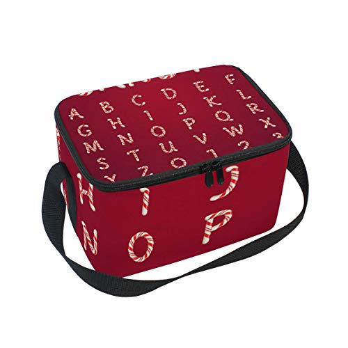 (ALINLO Halloween Alphabet Bondies Lunchtasche mit Reißverschluss, isolierte Kühltasche, Lunchbox Meal Prep Handtasche für Picknick, Schule, Damen, Herren, Kinder)