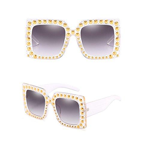 SIMPLEWORD Crystal Rim Damen Sonnenbrillen Retro River Marke Desginer Square Oversize Sonnenbrille