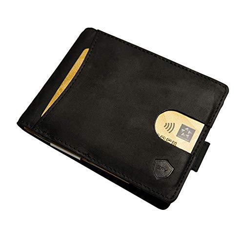 SECUREFY fold - TÜV zertifiziertes RFID Slim Wallet - Kreditkartenetui aus hochwertigem Leder mit Geldklammer für bis zu 10 Karten - Soft Touch Vintage Leder - Schwarz