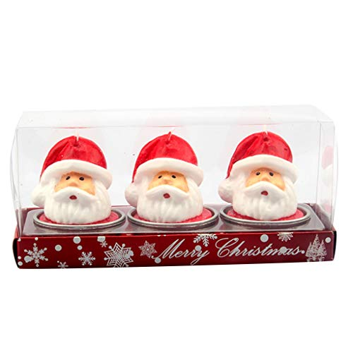ToDIDAF - Velas de Navidad, 3 Unidades, diseño de Escena navideña, decoración navideña, Velas, Restaurante, Fiesta, Boda, Festival, decoración de Velas, 14 x 6 x 5 cm
