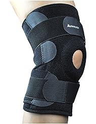 AIWEISI Rodillera Apoyo ajustable deporte Patella apoyo de neopreno con 4 integrado primavera estancias de acero reforzado correas de velcro para atletas ACL MCL menisco artritis (Single)