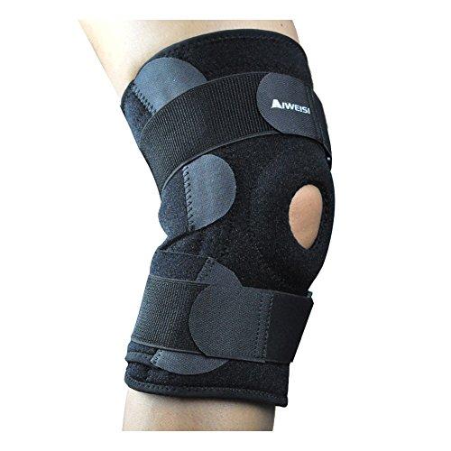 Atmungsaktiver leichter Knieschützer AIWEISI für Manner und Frauen mit 8 Antirutschgummiund Klettverschluss für Sport, Verletzung, Genesung (Schwarz, unisex)