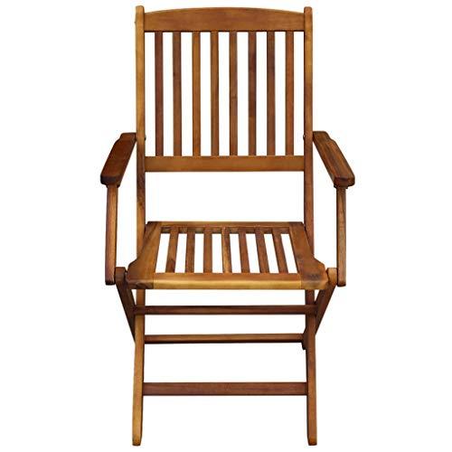 Xingshuoonline Lot de 2 chaises Pliantes de Jardin Chaise de Balcon en Bois d'acacia Massif pour terrasse et Camping
