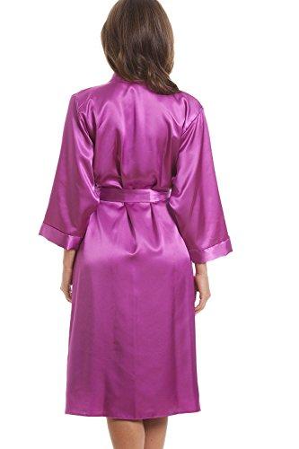 Luxuriöses Set aus Nachthemd und Morgenmantel - Satin - Rosa Pink