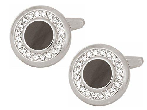 Dalaco Premium Qualität Manschettenknöpfe Stone & Crystal Collection. Luxus Manschettenknöpfe mit hoher Qualität Geschenkbox und Stift. Hergestellt in England, Ring of Crystals, onesize