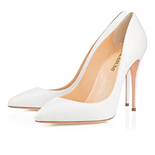 EDEFS Femmes Artisan Fashion Escarpins Délicats Classiques Elégants Pointus Des Couleurs Variées Chaussures à talon de 100mm Jaune Blanc