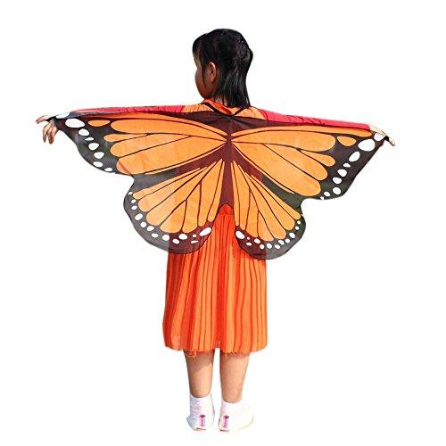 DY.LIN Liquidation Châle Enfants Garçons Filles Papillon Ailes Châle Fée Echarpes Echarpes Soirée Party Pashminas Poncho Plage Etoles Accessoire Costume(Orange)