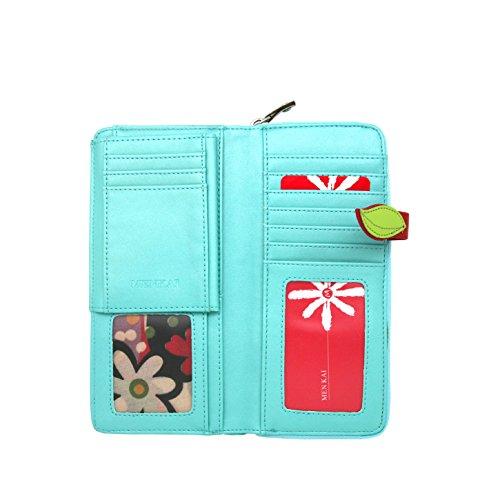Menkai borsa del portafoglio motivo in rilievo lungo di disegno volto femminile 769W2 Beige LAKE BLUE