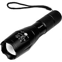 Vanzon Linterna LED Alta Potencia, Linternas Táctica Militar Recargable con 5 Modos Zoomable (no incluida batería litio 18650 y cargador)