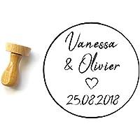 Tampon mariage personnalisé, écriture manuscrite avec les prénoms et la date de mariage, motif coeur