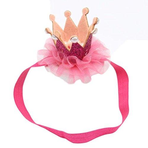 Metall Damen-fußball (Sunnywill Kopf Zubehör Baby Haarband Haar Band elastisch Blume Krone Kopfbedeckungen für Mädchen (Rose rot))