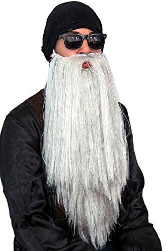 Langen Grauen Kostüm Bart - Grauer Rocker Bart Biker Zwergenbart