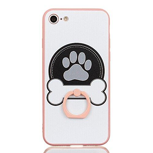Voguecase Für Apple iPhone 7 Plus 5.5 hülle, Schutzhülle / Case / Cover / Hülle / TPU Gel Skin mit Ring Schnalle (Pink-Fashion Girl 05) + Gratis Universal Eingabestift Pink-Knochen