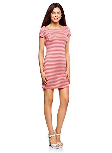 oodji Ultra Damen Enges Jersey-Kleid Rosa (4110S)