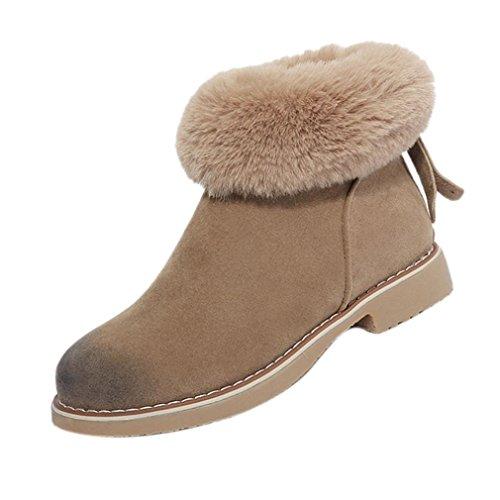 Stiefel damen Kolylong® Frauen Elegant Plüsch Schneestiefel Flach Herbst Winter Warme Stiefel Kurz Dicker Stiefeletten Zipper Winterschuhe Mädchen Freizeit Schuhe (37, Khaki) (Armee-erwachsene Schuhe)