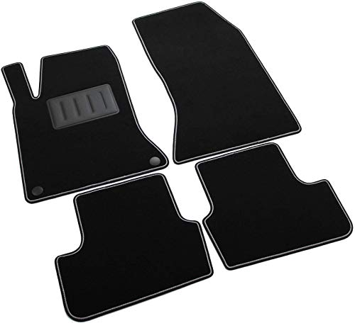Sprint02903 Tapis de sol pour voiture, bordure noire antidérapante avec bordure en caoutchouc Rigolo gris, côté conducteur