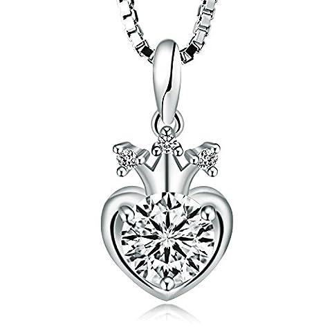 Timoo Damen 925 Sterling Silber Halskette Anhänger Krone Herz Liebe Schmuck Ketten 45CM Weiß