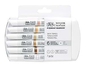 Winsor & Newton 0290045 Pigment Marker (mit hochwertigen, lichtbeständigen Künstlerpigmenten für Farbtiefe und hohe Leuchtkraft - für Grafikdesigns und Illustrationen) 6 Farben Hauttöne Set