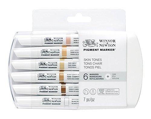 Winsor & Newton - Pennarello con doppia punta, con punta fine e piatta 6 Skin
