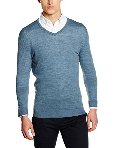 SELECTED HOMME Herren Pullover Shdtower Merino V-Neck Noos, Blau (Blue Mirage), Large (V-neck-gerippte Blue)